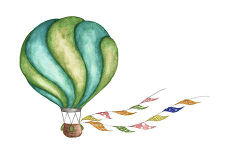 Green hot air balloon with flags garlands on white background. Watercolor illustration.