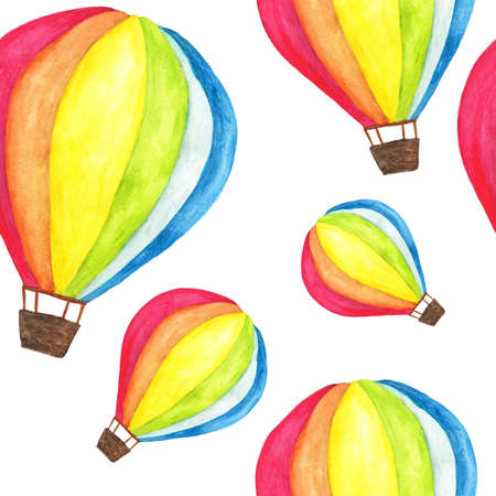 Watercolor rainbow hot air balloon seamless pattern. Background Wallpaper