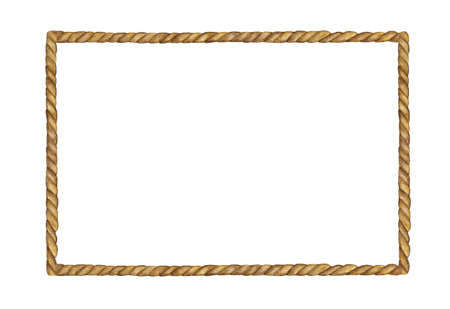 Watercolor painting of Brown Rope frame on white background.