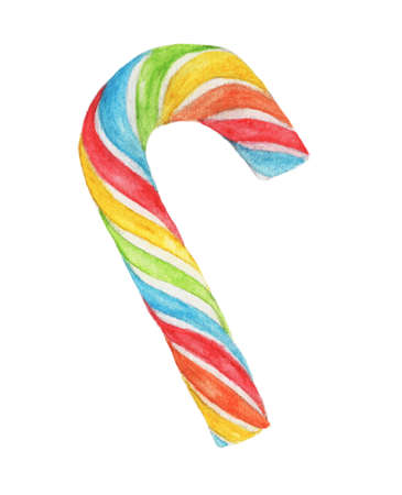 Rainbow Candy Cane isolated on white background, with clipping path. Watercolor illustration. Reklamní fotografie
