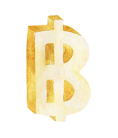 Golden Baht, Watercolor illustration painting isolated on white background.