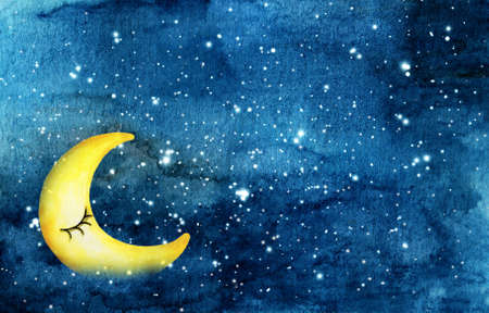 Night sky with Yellow crescent moon and stars watercolor abstract stain night sky background.