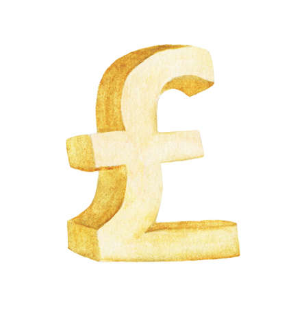 Golden Pound, Watercolor illustration painting isolated on white background.