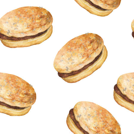 Seamless Pattern with Hamburgers. Fast Food Wallpaper, Hand drawn watercolor.
