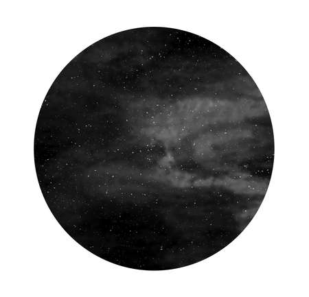 Black and white of night sky with stars, universe, space texture. Watercolour cosmos circle.