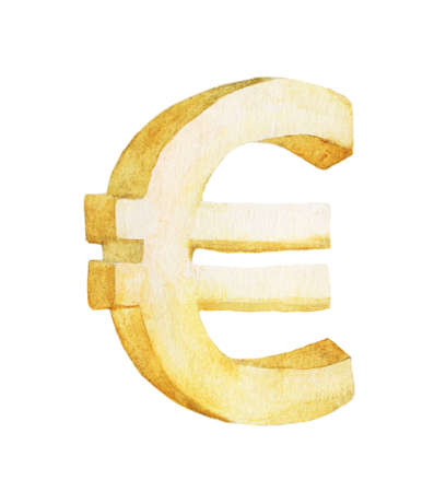 Golden euro, Watercolor illustration painting isolated on white background.