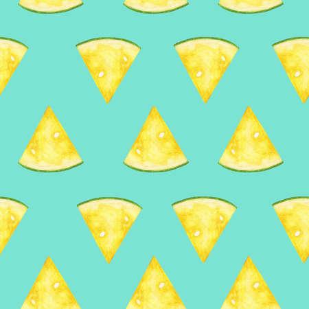 Yellow slices of watermelon. Seamless pattern. Summer background. Reklamní fotografie