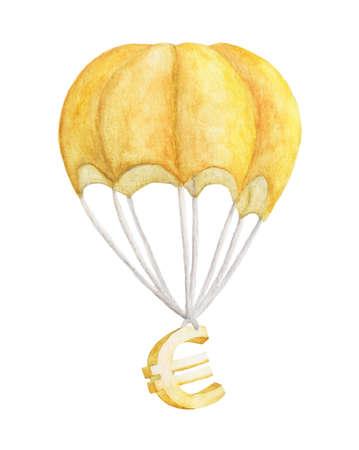 Golden euro is flying on a parachute. watercolor illustration Reklamní fotografie