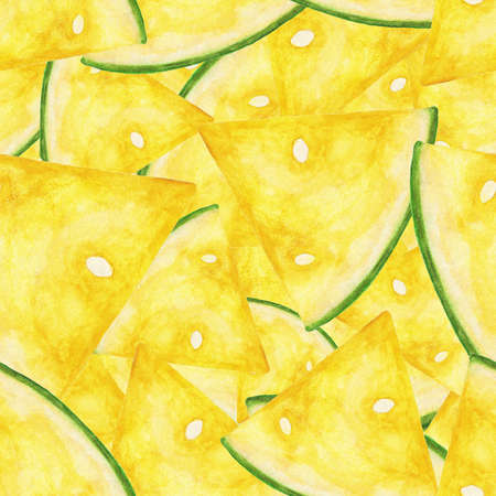Seamless pattern made of yellow watermelon slices painted with watercolors.