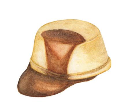 Custard pudding with caramel glaze isolation on white background. - Watercolor illustration.