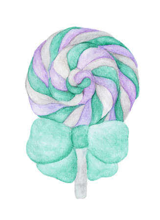 Sweet Lollipop with Green ribbon isolated on white background. Watercolor illustration. Reklamní fotografie