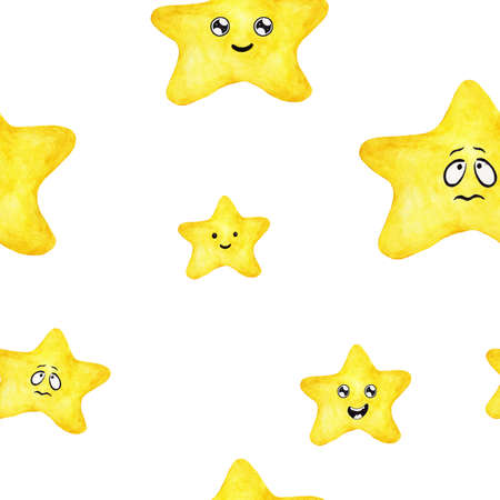 Yellow star characters seamless pattern background. Hand drawn watercolor illustration.