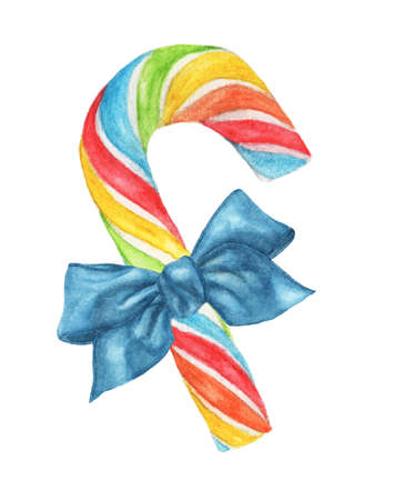 Rainbow candy cane with blue bow isolated on white background. Watercolor illustration. Reklamní fotografie