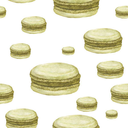 Seamless pattern with Green Macaroon on white background, Hand drawn watercolor. Reklamní fotografie