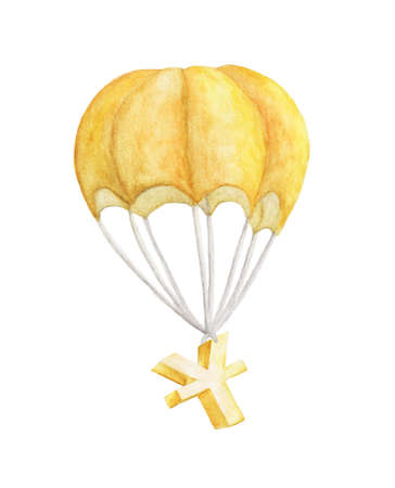 Golden symbol of yuan flying on a parachute. watercolor illustration