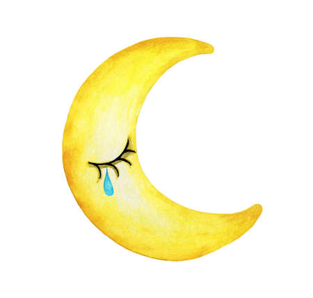 Cry moon isolation on white background, Hand drawn watercolor illustration.