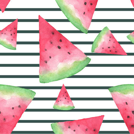 Seamless background with watermelon slices on stripes. Hand drawn watercolor. design for greeting card and invitation of seasonal summer holiday. Reklamní fotografie