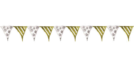 Colorful party bunting flag watercolor drawing isolated on white background, carnival garlands of flags, Holiday greeting card background. Reklamní fotografie