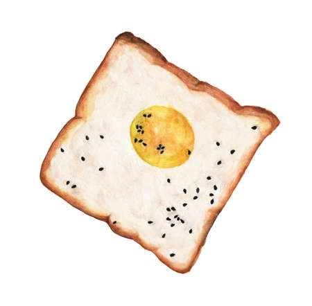 Egg on toast with black sesame seeds isolated on white background. Watercolor illustration For Food Design. Reklamní fotografie
