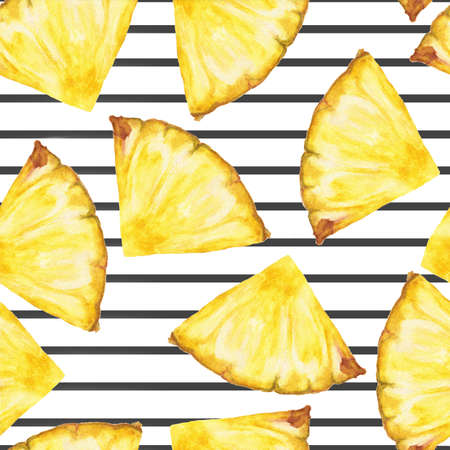 Seamless pattern with pineapple slices on the black stripe, Hand drawn watercolor.
