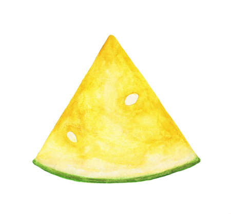 Watercolor yellow watermelon slice with seeds isolated on white background. Hand painting on paper.