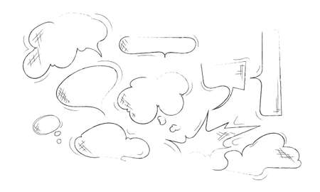 Set of hand drawn sketch Speach bubbles. Vector illustration.