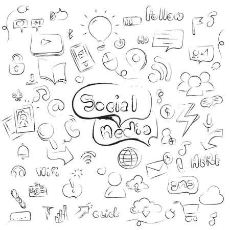 Hand drawn vector illustration set of social media sign and symbol doodles elements. Sketch media icon.