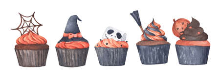 Variety of Halloween cupcakes on white background. Watercolor illustration. Happy Halloween scary sweets. Stock Photo