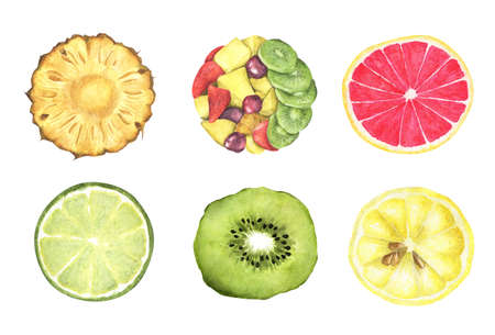 Collection of fresh fruits isolated on white background. Top view. Watercolor illustration.