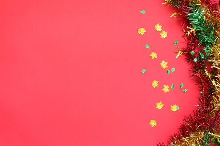 Red background and Christmas decorations Stock fotó