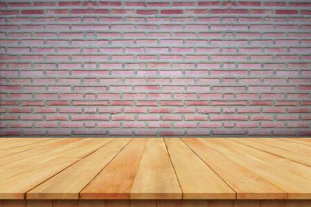 Brick wall and wooden floor brown background 版權商用圖片