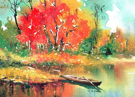 Oil painting: An autumn landcape with boat, tree