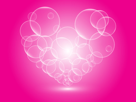 Heart bubbles on pink background