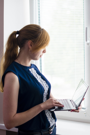 ultrabook: woman working with the 2 in 1 ultrabook