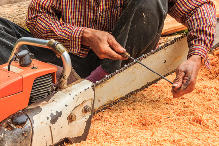 filings: Man sitting filings chainsaw blade with cut wood Stock Photo