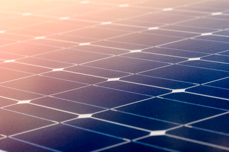 Close-up of Solar energy panel photovoltaics module in the sea offshore Stock fotó