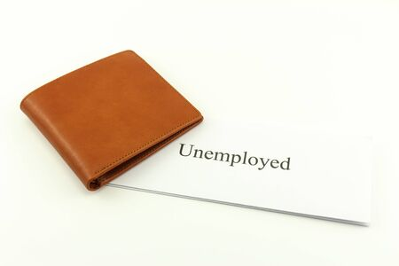 Brown wallet with unemployed on a white background