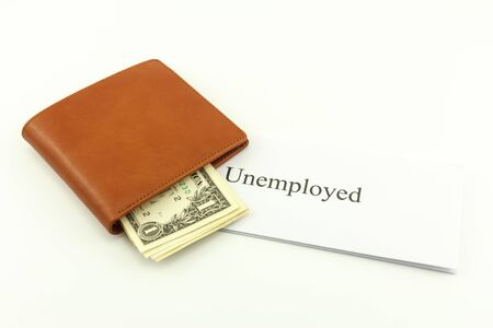 Brown wallet cash with unemployed on a white background