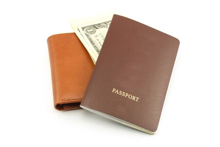 Brown wallet, passport and cash,on a white background Foto de archivo