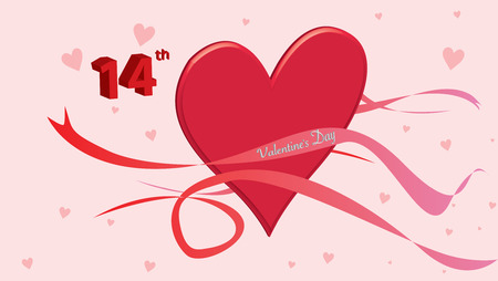 Hearts Love - Valentine`s Day Background - Illustration - Vector