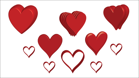 Hearts Love - Valentine`s Day - Illustration - Vector