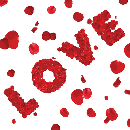 Valentines Day Word LOVE Made of Red Roses Isolated on White Background - Illustration, Vector