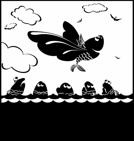 It is black a white illustration of free flight of happy fish