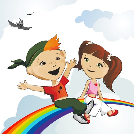 Happy girl and the boy sit on a rainbow Stock Vector - 14595675