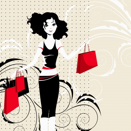 The happy young beautiful girl with purchases Vector