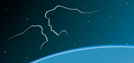 Profile of the man and the woman on stars background