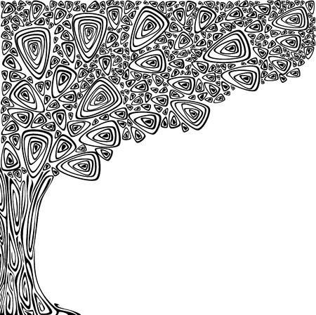 Background with an abstract tree. Black and white