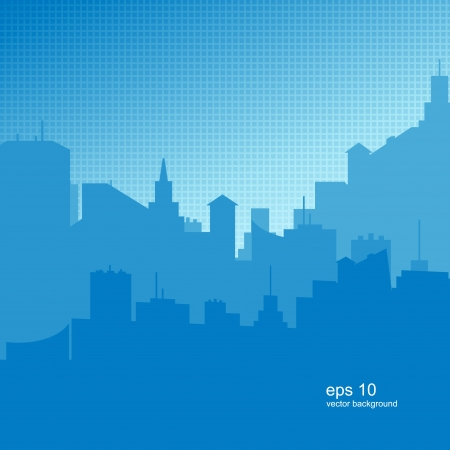 Easy Blue background with a city silhouette