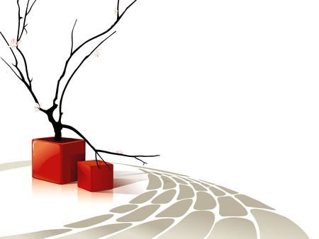 Abstract vector composition with red cubes and a blossoming tree