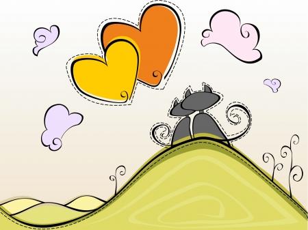 Kaart met verliefde katten op een heuvel kijkt in de lucht